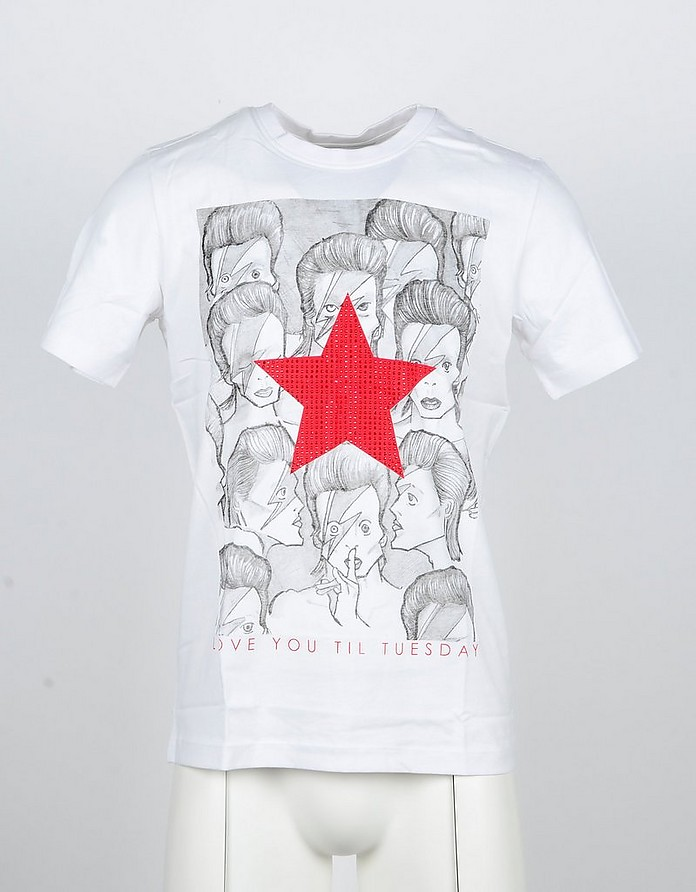 Red Star Printed White Cotton Men's Tshirt - John Richmond