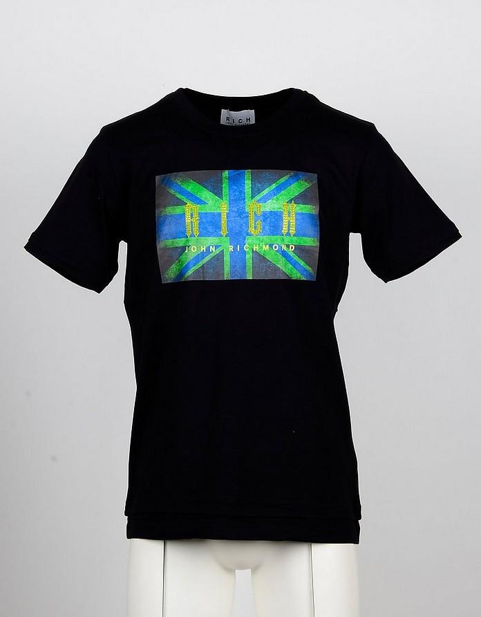 Flag Print Black Cotton Men's T-shirt - John Richmond