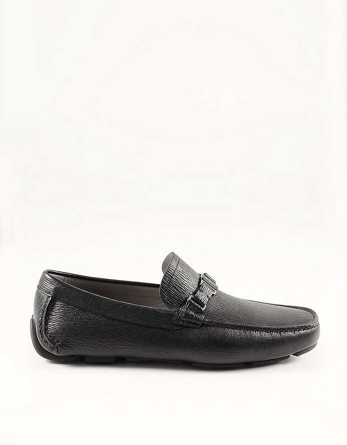 Black Embossed Leather Men's Driver Moccasin - Salvatore Ferragamo