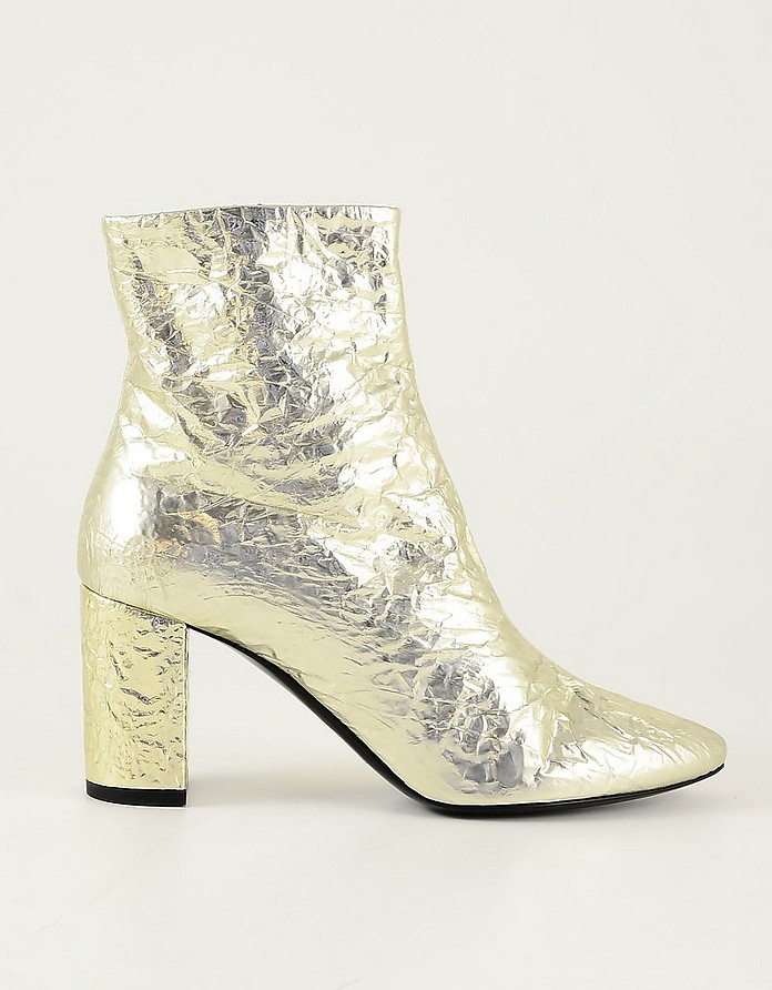 Gold Cracked Leather Women's Booties - Saint Laurent