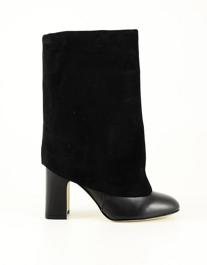 Black Leather and Suede Fold-Over Boots - Stuart Weitzman