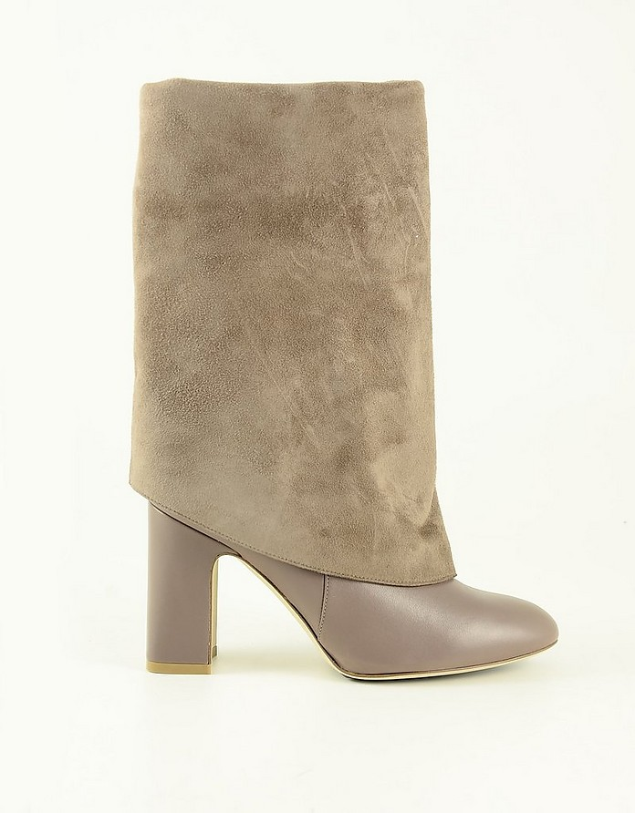 Taupe Leather and Suede Foldover Women's Boots - Stuart Weitzman