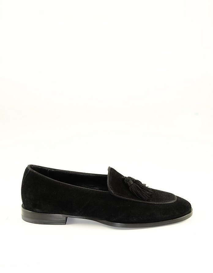 Black Suede Men's Loafer Shoes w/Tassels - Tagliatore