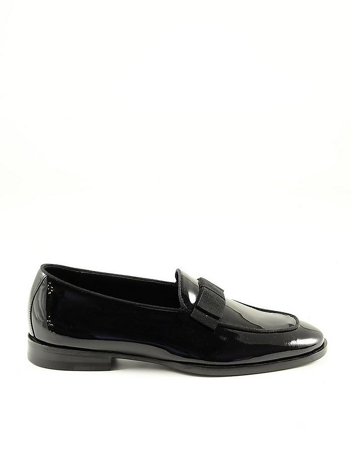 Black Shiny Leather Men's Loafer Shoes - Tagliatore
