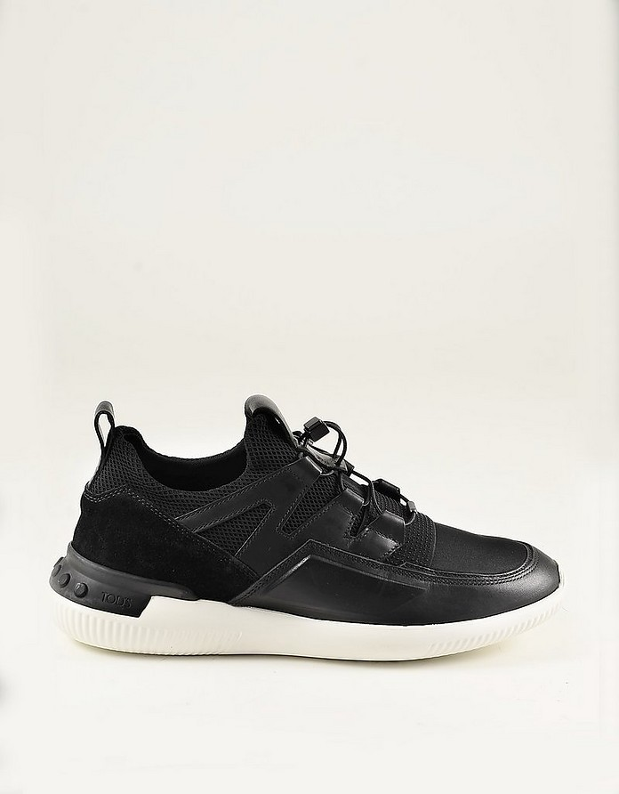 Black Leather and Mesh Mid-Top Men's Sneakers - Tod's