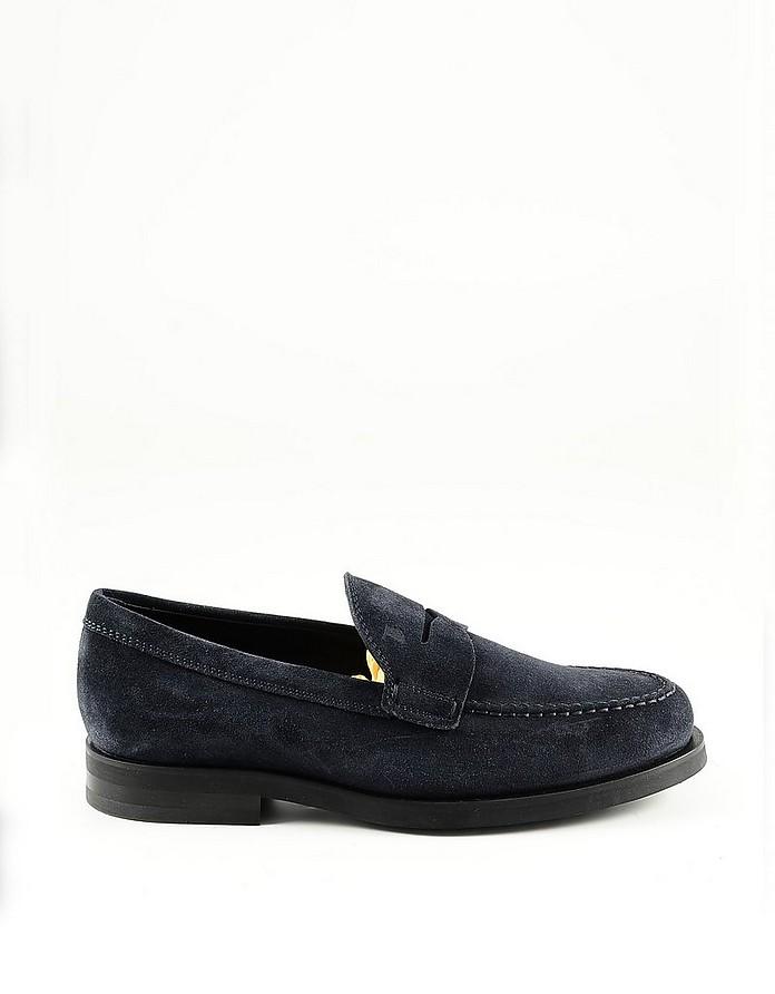 Blue Suede Men's Loafer Shoe - Tod's