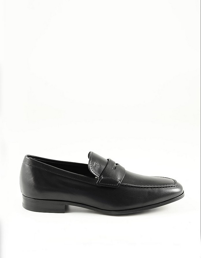 Black Leather Men's Loafer Shoes - Tod's