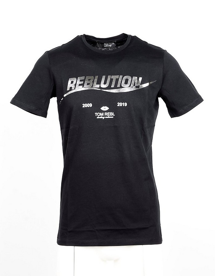 Black Cotton Men's T-shirt - Tom Rebl
