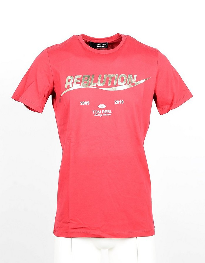 Red Cotton Men's T-shirt - Tom Rebl