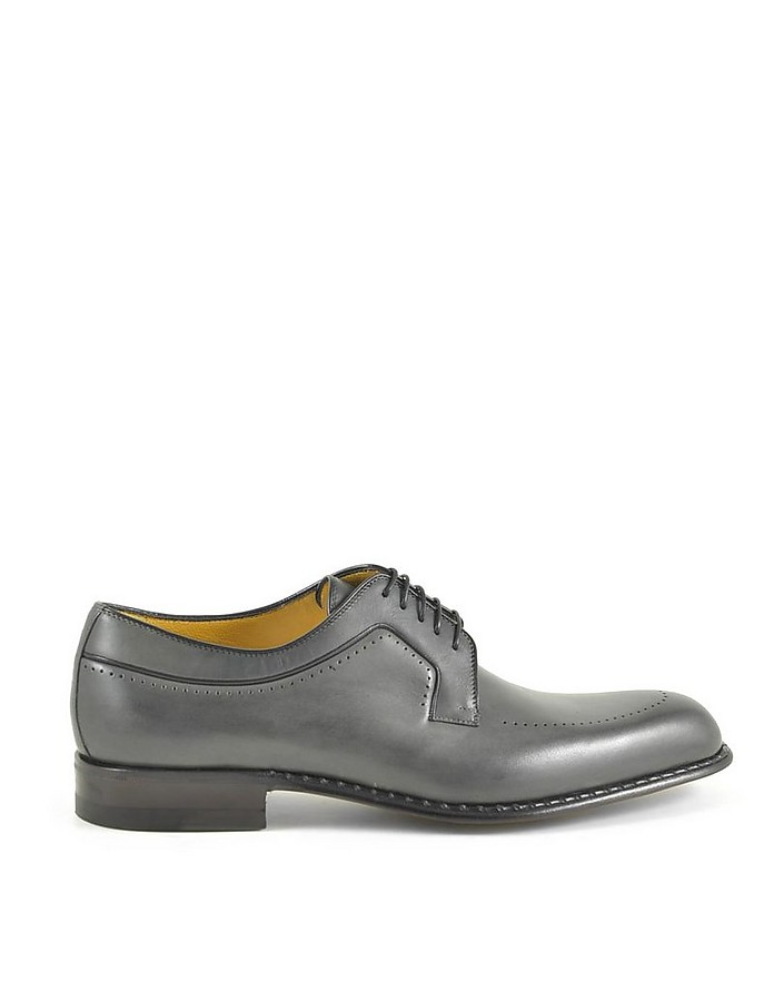 Anthracite Leather Men's Derby Shoes - A.Testoni