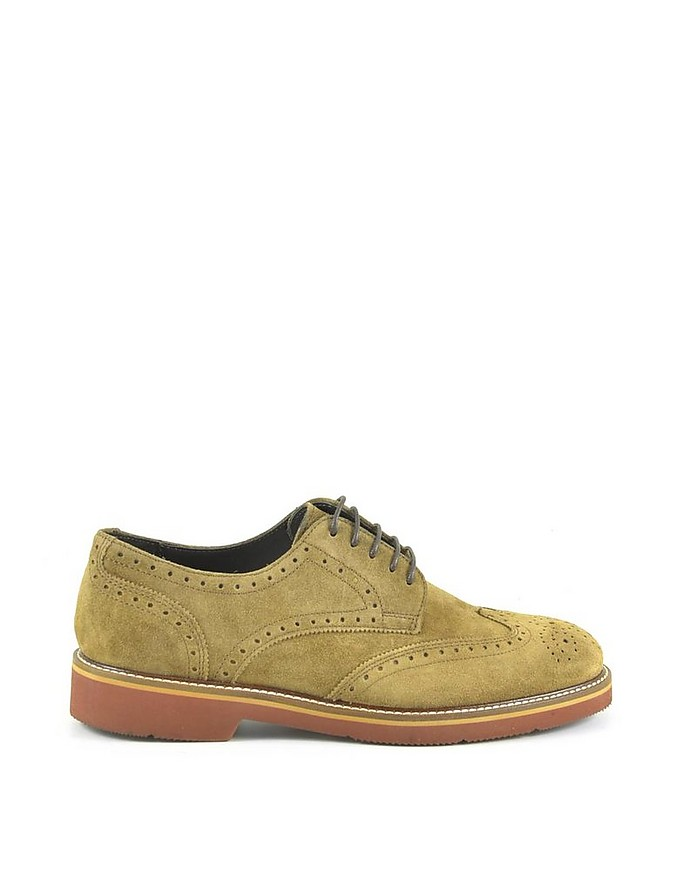 Men's Brown Suede Derby Shoes - A.Testoni