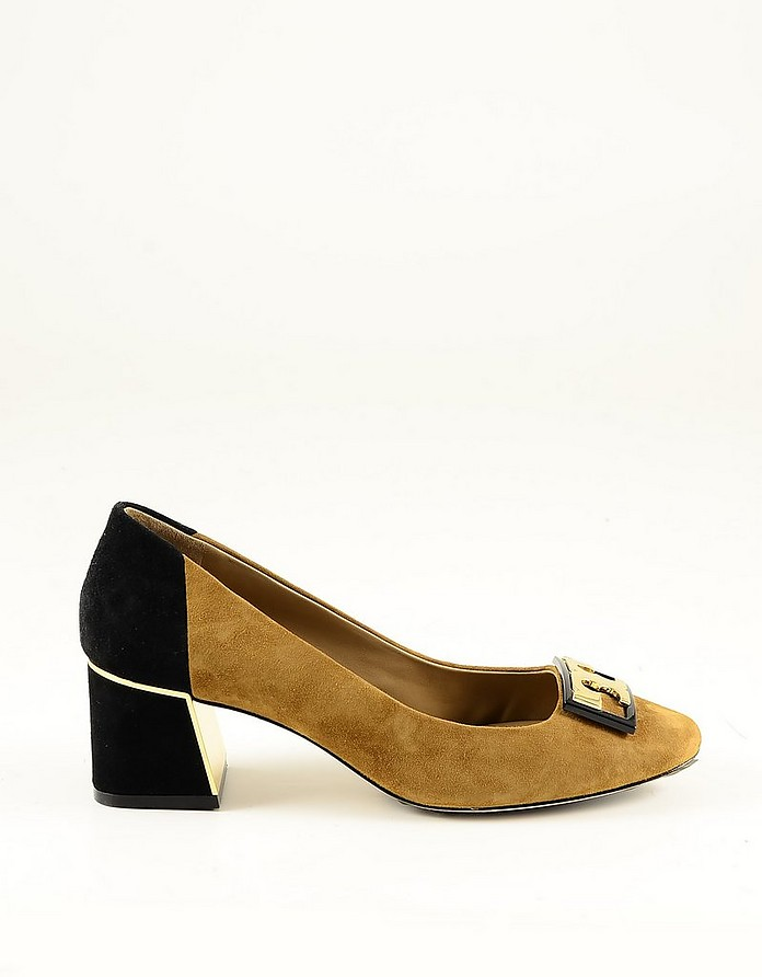 Camel and Black Suede Pumps Shoes - Tory Burch