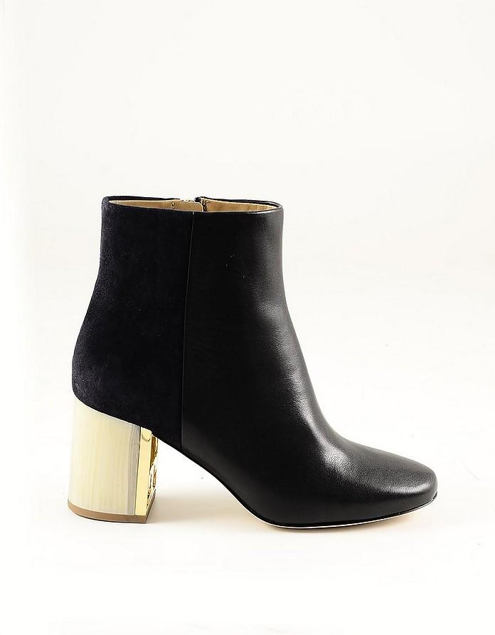 Black Leather Women's Booties w/Golden Heel - Tory Burch