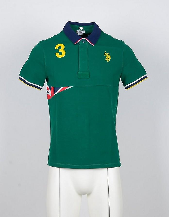 Green Cotton Men's Polo Shirt w/UK Flag