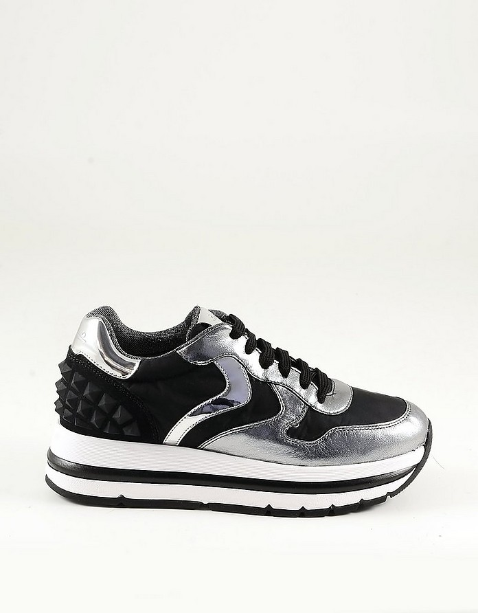 Black and Silver Laminated Eco Leather Women's Platform Sneakers - Voile Blanche