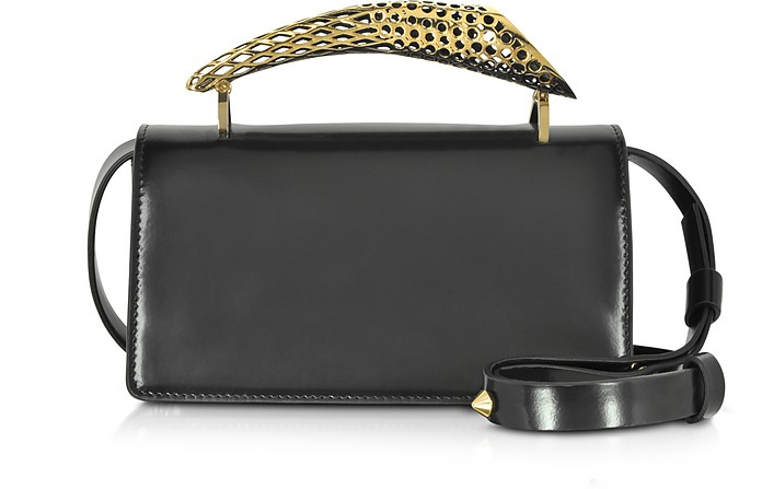 Black Glossy Leather Mini Shoulder Bag w/Gold Brass Mini Horn - Maissa