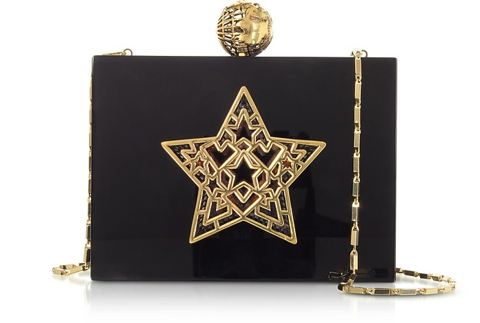 Black Plexiglass Lady Rockstar Clutch w/Chain Strap - Maissa