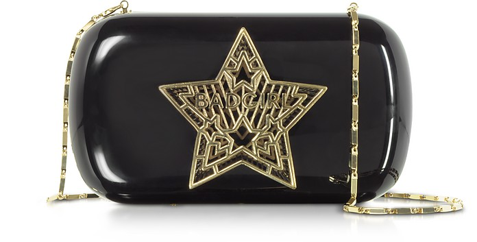 Black Plexiglass Bad Girl Clutch w/Chain Strap - Maissa
