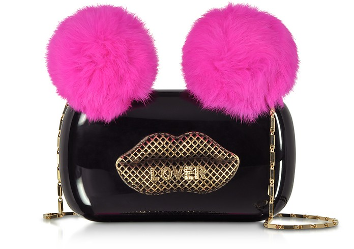 Black Plexiglass Lover Clutch w/Pink Fur Pompoms - Maissa