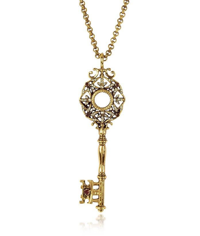Brass Key Long Necklace - Alcozer & J