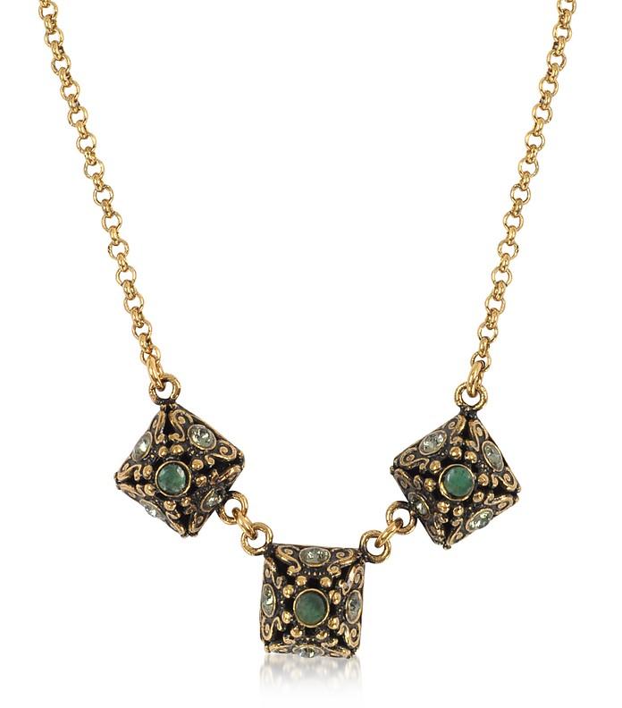 Pyramid Necklace w/Semi Precious Stones - Alcozer & J