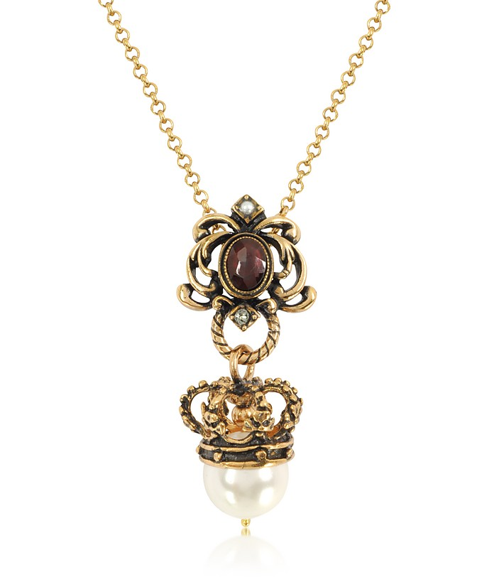 Crown and Pearl Necklace - Alcozer & J