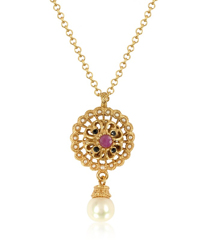 Mandala Necklace w/Pearl & Gemstones - Alcozer & J