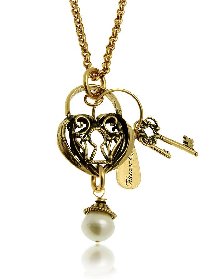 Heart & Key Long Necklace - Alcozer & J