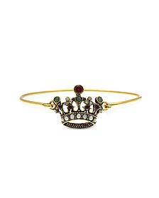 Princess Goldtone Brass Bangle w/Crown - Alcozer & J