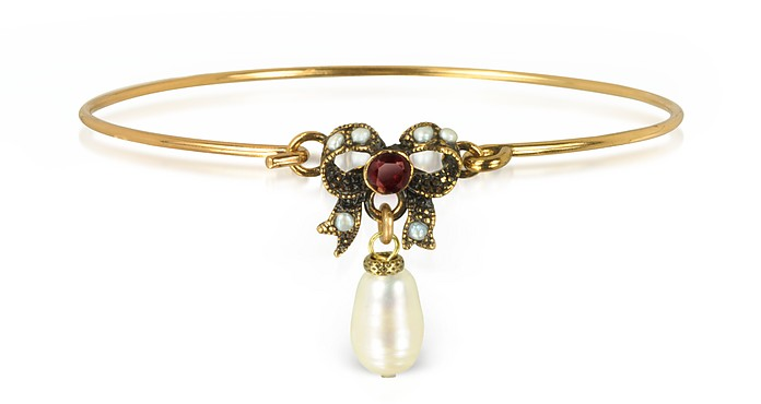Happiness Goldtone Brass Bow and Glass Pearl Bangle - Alcozer & J