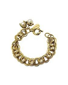 Brass & Glass Pearls Bracelet
