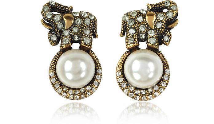 Elephant Earrings w/Pearls - Alcozer & J