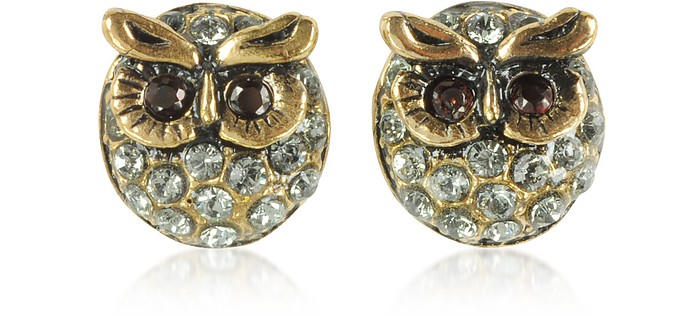 Owl Earrings w/Crystals - Alcozer & J