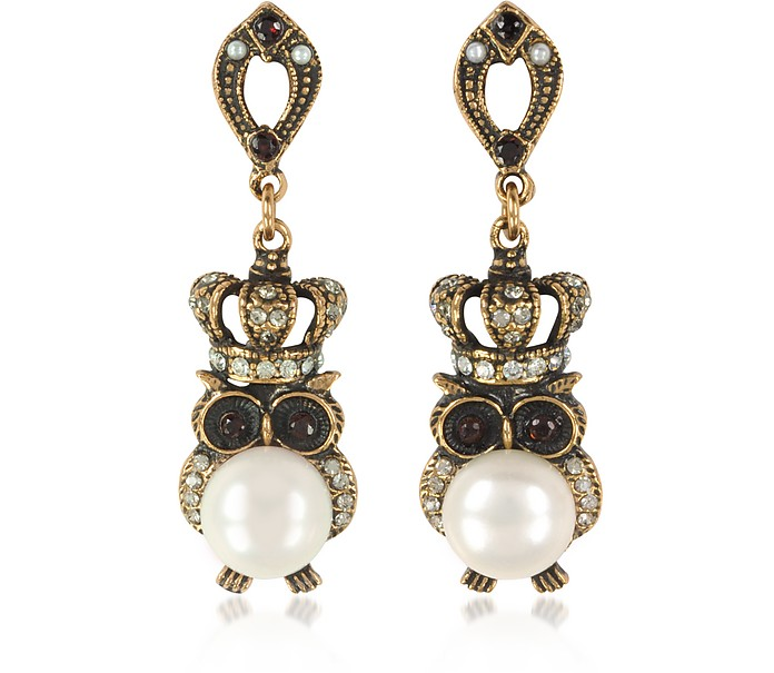 Crowned Owl Earrings w/Pearls - Alcozer & J