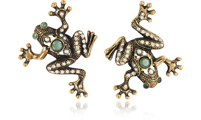 Frog Earrings w/Crystals - Alcozer & J