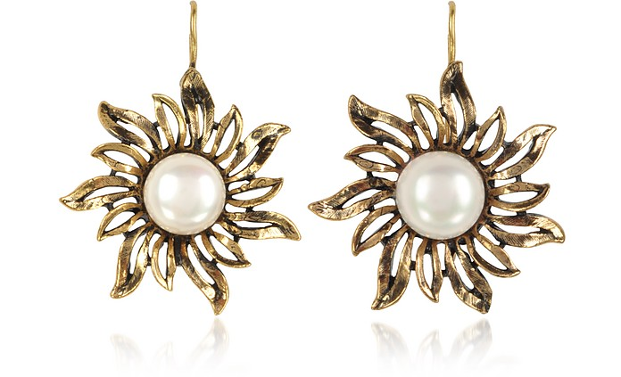 Sun Earrings w/Pearls - Alcozer & J