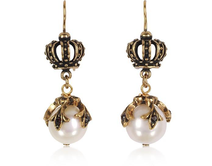 Crown Earrings w/Pearls - Alcozer & J