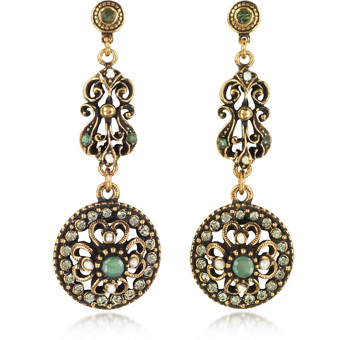 Drop Earrings w/Rough Emeralds - Alcozer & J