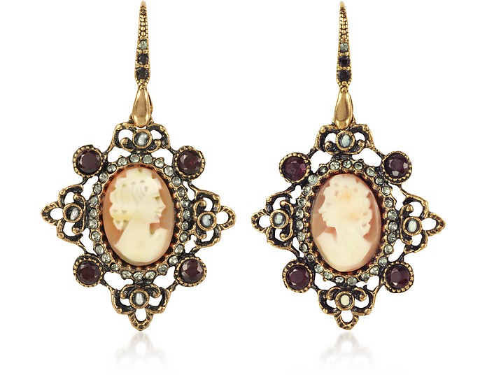 Cameo Earrings W/ Baroque Frame - Alcozer & J