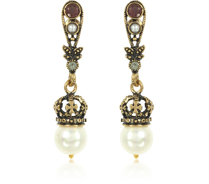 Drop Crown Earrings w/Pearls - Alcozer & J
