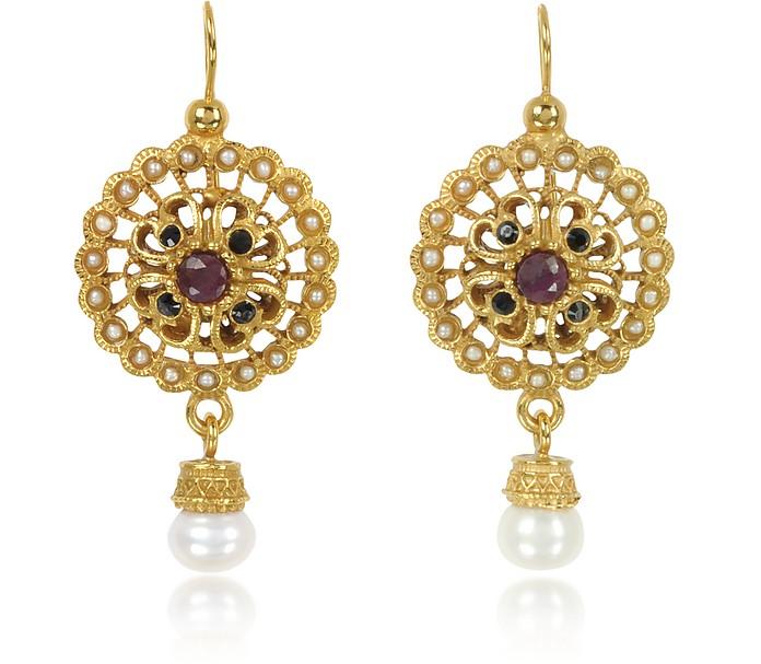 Round Earrings w/Pearls - Alcozer & J