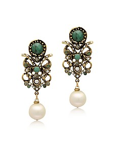 Golden Brass, Glass Pearl and Emerald Earrings
