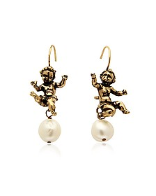 Naughty Children Gold Plated Brass and Glass Pearl Earrings - Alcozer & J
