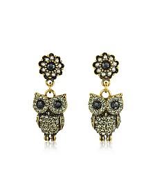 Hanging Goldtone Brass w/Crystals Drop Earrings - Alcozer & J