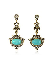Magnesite Goldtone Brass Earrings w/Crystals - Alcozer & J