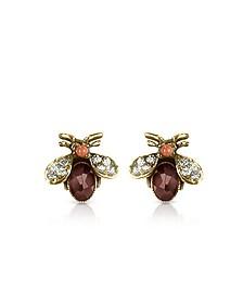 Gemstone Brass Bee Earrings