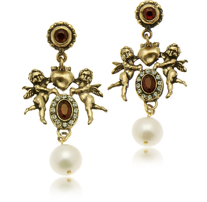 Brass Cherub Drop Earrings - Alcozer & J