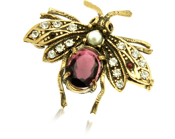 Gemstone Brass Bee Brooch - Alcozer & J