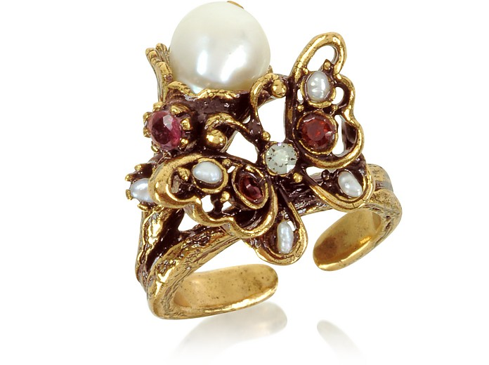 Butterfly Brass Ring w/Glass Pearl - Alcozer & J