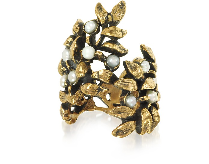 Mistletoe Brass Ring w/Glass Pearl - Alcozer & J